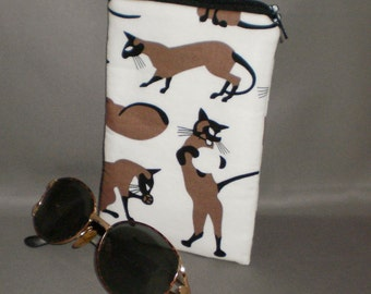Siamese Cat - Eyeglass or Sunglasses Case - Zipper Top - Padded Zippered Pouch - Cats