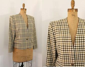 80s jacket - houndstooth wool jacket - 80s blazer - 80s clothing - medium large
