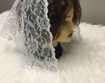 Triangle white  lace church chapel mantilla veil scarf - floral- scalloped  -