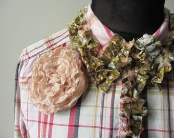 RESERVED - Tattered Plaid Boho Shirt with Cabbage Rose Brooch, Shabby Chic Clothing, Upcycled Recycled Refashioned Clothing, Cowgirl Chic