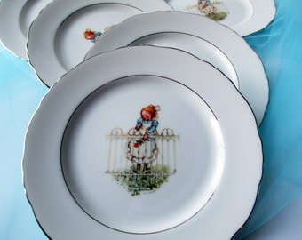 Vintage Hollie Hobbie Bread & Butter/Dessert Plates Pattern Girl Set of Six
