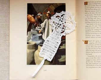 Christian Cross Crochet Lace Bookmark, Spiritual Art, Catholic Symbol of Faith, First Communion Gift