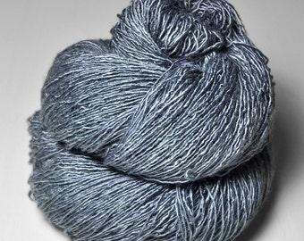Blue Platinum - Tussah Silk Fingering Yarn