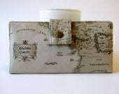 Handmade womens wallet clutch  -Map of Middle earth - Harry Potter - LOTR - ID clear pocket - custom order - gift for her