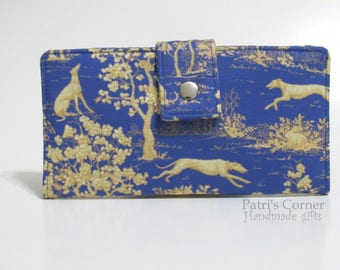Handmade women wallet clutch - Greyhounds in the woods theme - toile blue and gold - ID clear pocket - custom order - gift ideas for her