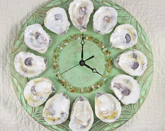 Oyster Shell Wall Clock -seafoam green