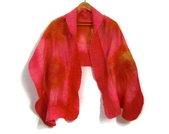 felted silk shawl, scarf, salmon pink, yellow