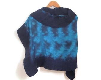 felted handdyed silk shawl, navy turquoise