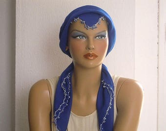 Blue cotton scarf with evil eye beads