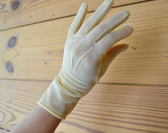 1950s knitted yellow gloves / van raalte sheer formal gloves with stretch / small