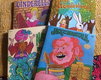 4 - 1960's Children's Coloring Books, Jack & the Beanstalk, Aladdin, Alice in Wonderland Cinderella Vintage Illustration TV Coloring books