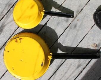 Pots, Yellow,Frying Pans, Enamel, Cookware,70s,
