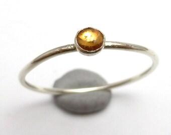 Padparascha Sapphire Ring Sterling Silver One of A Kind handmade Lisajoy Sachs Design size 7 September Birthstone Pink Orange Gemstone