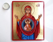 Madonna with Christ child handpainted, RESERVED 9 by 8 inches