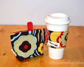 Ready to ship-Reusable Medium Snack Bag and Coffee Cup Sleeve - Mocha Flowers