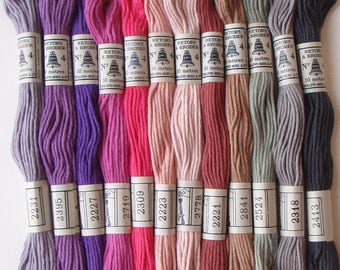 Embroidery Cotton Thread Vintage French 1960s 12 unused skeins in Pink Heather Purple Lilac and Gray colors in an original box