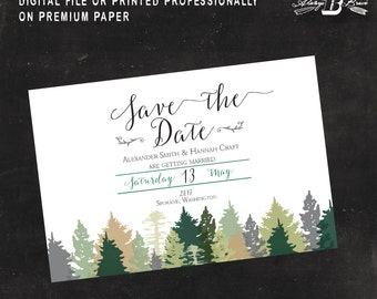 Rustic Save the Date Postcard | Printed or Printable Digital File DIY | Winter Trees Save the Date Postcard | Green Tree Save the Date