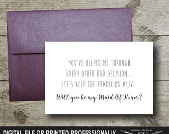 Bridesmaid Proposal Card | Instant Download | Printable File | Will You Be Bridesmaid | Wedding Party Card | Maid Of Honor Request Card