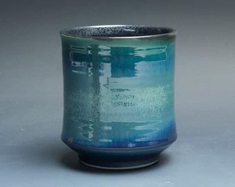 Handmade porcelain tea cup Japanese yunomi teacup glossy blue 16 oz -3662