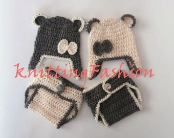 Teddy Bear Baby Twins Outfits _Teddy Bear Babies Twin Crochet  Outfits _ Baby Twins Hospital Outfits_ Photography Outfit Baby Twins