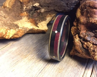 Wooden Bracelet: Gaboon Ebony, Purple heart, Holly, Brass