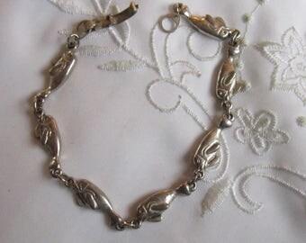 Vintage Pewter or Silver Dophin Link Bracelet