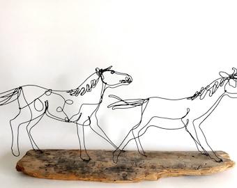 Horse Wire Sculpture, Horse Art, Minimal Wire Art, Wire Design, 473727564