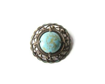 SALE-Antique Turquoise Art Glass Brooch c.1910