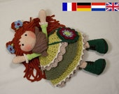 Crochet pattern for doll ELLIE, pdf  (Deutsch, English, Nederlands, Français)