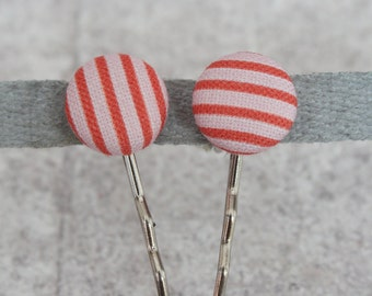 Pink and Red Stripe Fabric Button Bobby Pin Pair