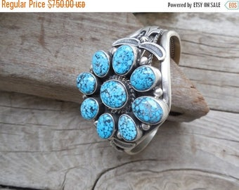 ON SALE Gorgeous turquoise bracelet handmade and signed in sterling silver, with nine natural spiderweb blue turquoise stones