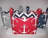 Small Diaper Caddy / Organizer Bin / Fabric Basket - Navy White Anchors Zig Zag Chevron- Personalization Available