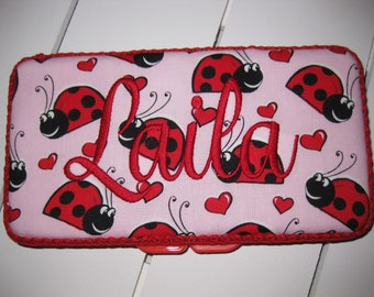 Pink Red Black Ladybug Lady Bugs Travel Baby Wipe Case- Personalization Available