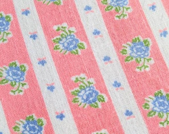 Vintage Feedsack Fabric - 1930's Blue Roses and Pink Stripe on White- Full Sack