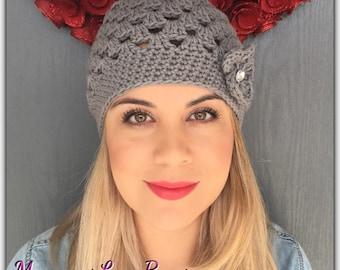 Slouchy Open Weave Crochet Beanie
