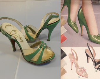 Click Clacking Away - Vintage 1950s Kelly Green Patent Leather & Clear Vinyl D'Orsay Slingback Heels - 5