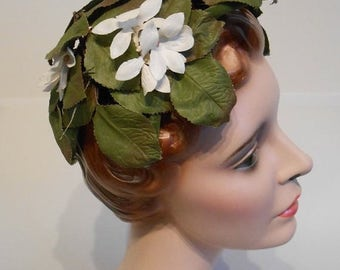 60% OFF SALE Hawaiian Royal Wedding - Vintage 1950s Green Leaves & White Plumeria Fascinator Hat