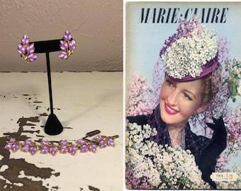Lilas dans Printemps - Vintage 1950s Encore NOS Lilac Orchid Pearlized Lucite Bracelet Earring Set