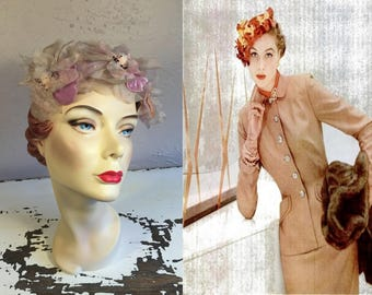 A Slight Demur Glance - Vintage 1950s Large Lavender Magnolia Chiffon Velvet Floral Open Crown Fascinator Hat