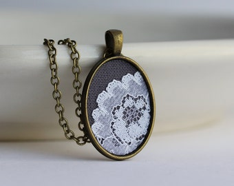 Lace Necklace, Flower Small Oval Pendant, Gray Bridesmaid Jewelry, Cotton, Anniversary Gift For Women, Fabric, White Vintage Lace