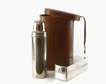 Vintage Thermos Picnic Set, Antique Thermos in Leather Case, Vintage Camping Gear, Landers Frary & Clark, Sandwich Box