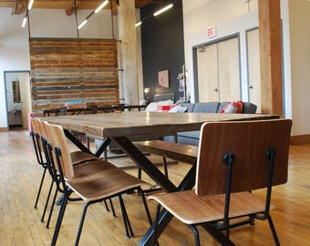 Modern Harvest Wood Conference/Board Room/Communal Table, steel legs in your choice of color, size, finish. Custom orders ship 4-5 wks.