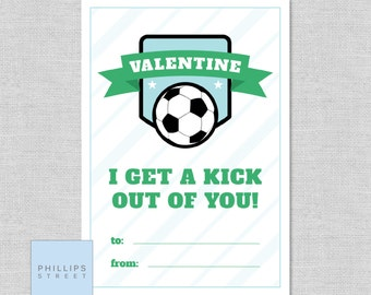 printable SOCCER Valentine's Day cards . kids classroom valentines . instant download . soccer . DIY