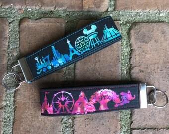 Magical Memories Key Fob - Disney Landmarks - Watercolor Key Fobs