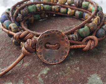 triple wrap leather bracelet, matte aged czech glass beads,soft distressed leather, pure copper lucky penny, made with love and good energy!