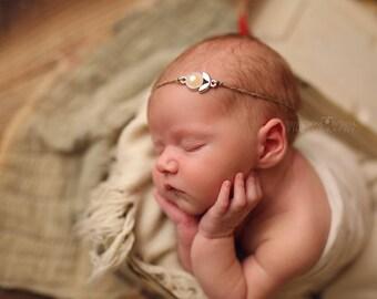 Baby Pearl Headband, Newborn Gold Headband, Burlap and Pearl Tieback, Natural Props, Organic Props, Newborn Photo Prop, RTS Newborn Props