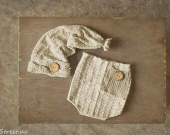 Baby Tan Pants and Hat Set, Navy Shorts,  Baby Boy Prop, Baby Boy Hat Set, Baby Hat, Photo Prop, Newborn Props, RTS, Baby Props, Pocket