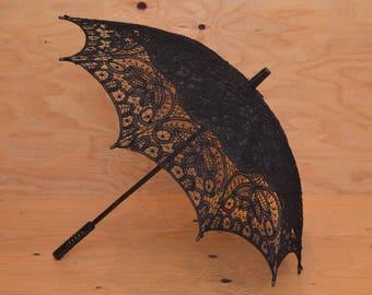 Vintage Black Lace Umbrella In Black With Lace Floral Detail Push-Button Mechanism