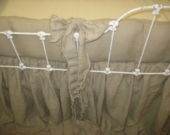 Shabby Crib Bedding in Washed Linen- Frayed Edge Sashes-Frayed Hem Crib Skirt-Farm House Crib Bedding