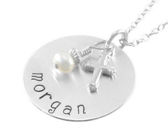 Confirmation Necklace, Hand Stamped Name little girls gifts, pearl, name pendant, personalize necklaces, goddaughter, niece, birthday MORGAN